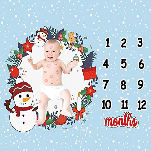 Baby Monthly Milestone Blanket Newborn Girls Photo Props Shoots Backdrop Personalized Christmas Gifts Snowman Photography Growing Infants Toddlers Swaddle ()