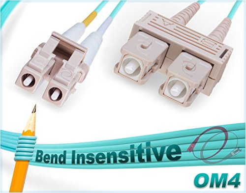 2M OM4 LC SC Fiber Patch Cable | Bend Insensitive 100G Duplex 50/125 LC to SC Multimode Jumper 2 Meter (6.56ft) | Length Options: 1M-300M | FiberCablesDirect - Made In USA | ofnr sc-lc lc/sc aqua ()