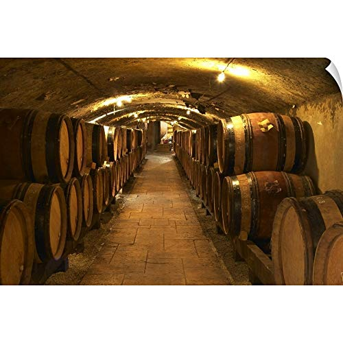 """CANVAS ON DEMAND Per Karlsson Wall Peel Wall Art Print Entitled Wooden Barrels with Aging Wine in The Cellar of Guigal in Ampuis, Cote Rotie, France 18""""x12"""""""