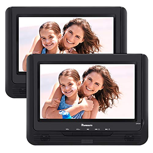 NAVISKAUTO 9″ Portable Car DVD Player Dual Screen Kids 5-Hour Built-in Rechargeable Battery, Last Memory Region-Free