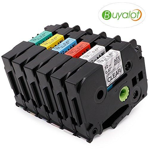 Combo Pack Buyalot 6 Pack Label Tape TZe-131 TZe-231 TZe-431 TZe-531 TZe-631 TZe-731 12mm 0.47 Laminated TZ Tape Compatible For Brother P-Touch PT-D210 PTH110 PTD600 PC Label Maker (1/2