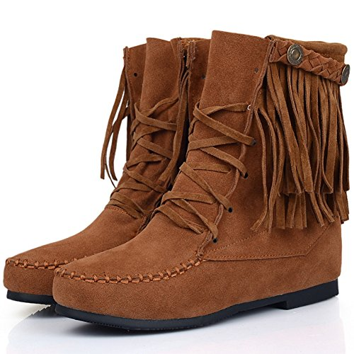 Boots Short Women Tassel Casual Fashion Breathable up Boots Yellow Ankle BIGTREE Comfortable Lace gxFfqqI