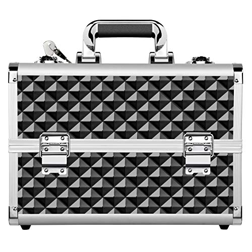 - Yaheetech Makeup Train Cases Professional - Travel Makeup Bag Cosmetic Cases Organizer Portable Cosmetic Box 13.7