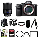 Sony Alpha a7SII Mirrorless Digital Camera w/ SEL35F14Z 35MM Distagon Lens & Slik Mini II 43.3IN. Compact 4 Section Tripod With Ball Head Bundle