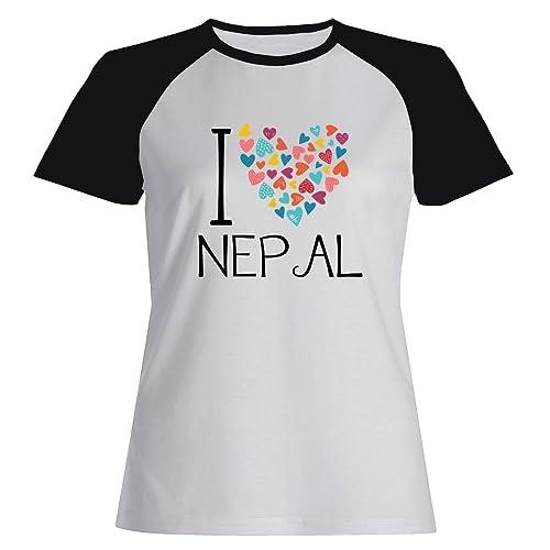 Idakoos I love Nepal colorful hearts - Paesi - Maglietta Raglan Donna
