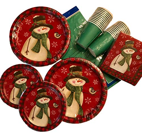 wman Disposable Paper Plates, Napkins, Cups Bundle, Service for 24 - Holiday Christmas Decoration Party Supplies ()