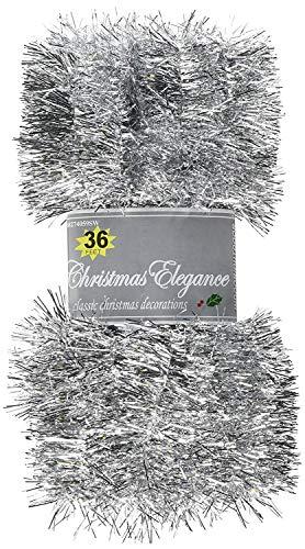 Christmas Elegance 36 FT Christmas Garland Classic Christmas Decorations, Silver ()