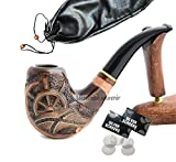 Pear Wood Hand Carved Tobacco Smoking Pipe ''Pirate'' + Pouch