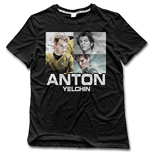 ALZK Men's Anton Yelchin Photo Short Sleeve T-shirts XL Black (Parker Terminator)