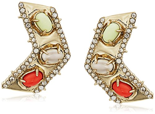 Alexis Bittar Chevron Cabochon Post Earrings, 10K Gold, One Size