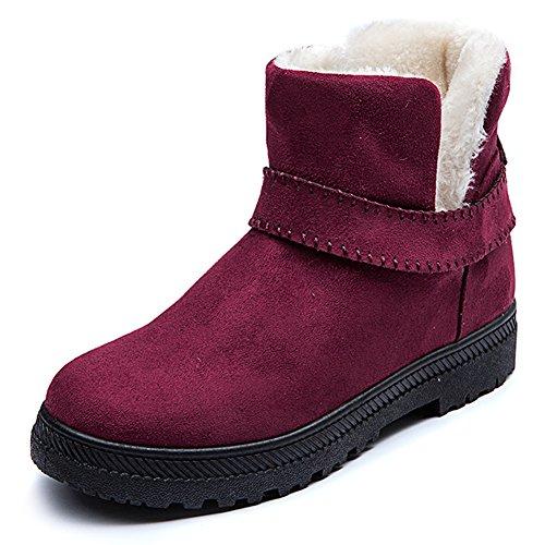 Enkellaarzen Bont Gevoerd, Eagsouni Dames Warm Chelsea Snowboots Dames Outdoor Winter Kort Leren Slofjes Plat Katoenen Schoenen Rood