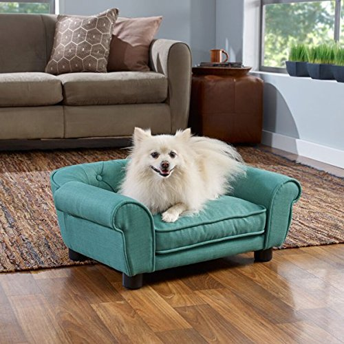 Enchanted Home Pet CO2549 15TEAL Sydney Linen Tufted Pet Sofa 85%OFF