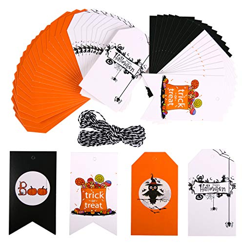 50 Pieces Halloween Gift Tags - Craft Tags, Gorgeous Cards with 33 Feet Strings for Halloween Gift Wrap, Lollipop Cookie Candy Baking Packaging, Perfect Halloween Party Supplies -