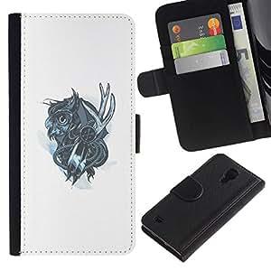 NEECELL GIFT forCITY // Billetera de cuero Caso Cubierta de protección Carcasa / Leather Wallet Case for Samsung Galaxy S4 IV I9500 // Mechanich Búho