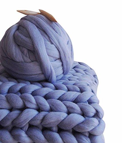 HomeModa Studio 100% Non-Mulesed Chunky Wool Yarn Big chunky Yarn Massive Yarn Extreme Arm Knitting Giant Chunky Knit Blankets Throws Grey White (250g, Violet) (Big Yarn)