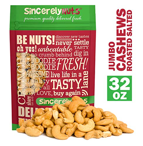 Sincerely Nuts – Large Jumbo Cashews Roasted and Salted | Two Lb. Bag | Deluxe Kosher Snack Food | Healthy Source of Protein, Vitamin & Nutritional Mineral Content | Gourmet Quality Vegan Nut