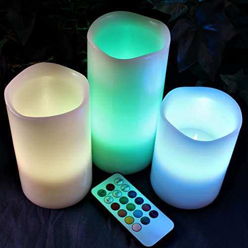 LED Multi Colored Flameless Candles Battery Operated, 3 Round Ivory Wax with Multi-Function Timer Remote Control…