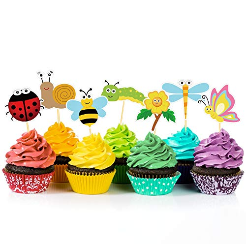 CC HOME Summer Spring Insects Party Decoration,24 PCS Spring Summer Sunflower Cupcake Toppers Cake Picks , Summer Insect Cup Cake Food Picks for Girl,Boys Baby Shower,Birthday Party ,Easter,Spring ,Summer Party Decoration