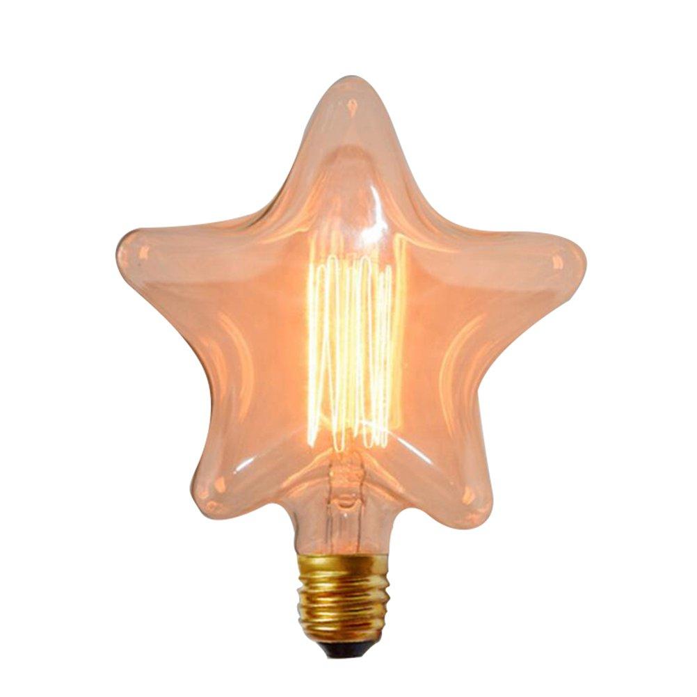 LEDMOMO 2700K Luces de Bulbo del Filamento de Tungsteno en Forma de Estrella E27 Bombilla Incandescente de Base del Tornillo Blanco Cá lido