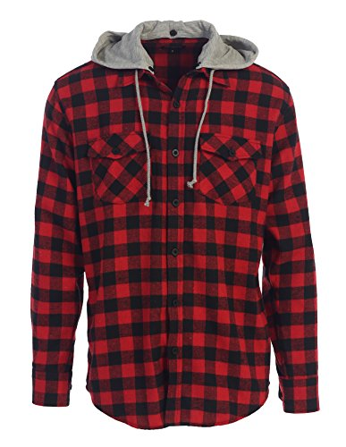 red and black hooded flannel - 1