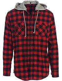 Men's Hooded Plaid Flannel Button Down Shirt
