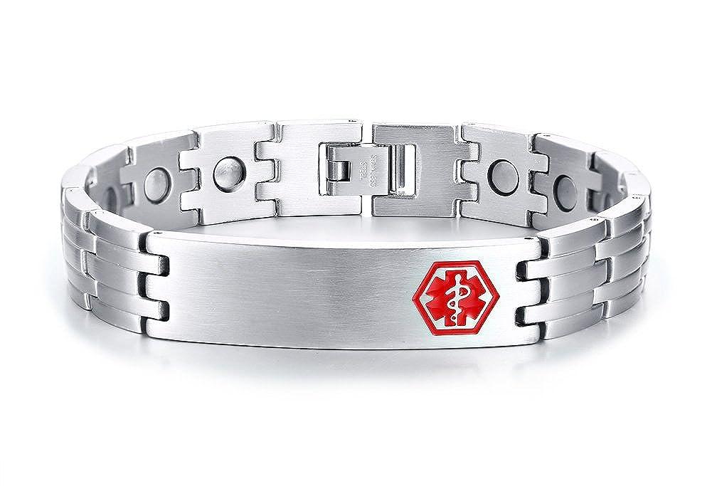 PJ Jewelry Free Engraving Mens Stainless Steel Magnetic Therapy Emergency Medical Alert ID Tag Bracelet 8 PJ Fashion PJ-SBRM-105B-KZ