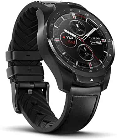 TicWatch Pro Bluetooth Smart Watch, Layered Display, NFC Payment, Google Assistant, Wear OS by Google (Formerly Android Wear),Compatible with iPhone and Android (Black)