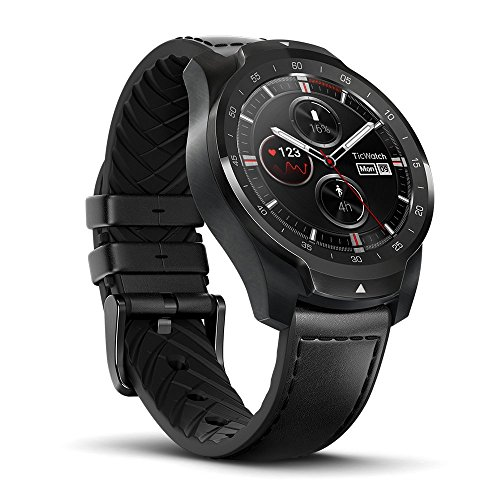 TicWatch Pro Premium Smartwatch with Layered Display for Long Battery Life, NFC Payment and GPS Build-in, Wear OS by Google, Compatible with iOS and Android (Black) ()