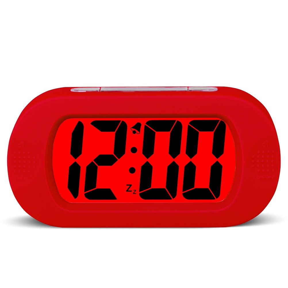 HENSE Large Digital Display Luminous Alarm Clock With Snooze, Night Light And Light Sensor Function, Large LCD Display Shockproof Silicone Protective Cover, Simple Setting, Progressive Alarm, Batteries Powered, Operated For Travel ,Office and Home Bedside