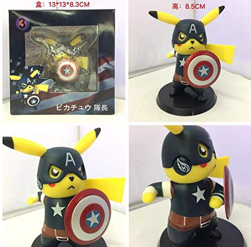 PampasSK Action & Toy Figures - Pikachu Cosplay Deadpool Captain America Darth Vader Marvel Star Wars Cartoon Anime Pocket Action Figure PVC Toys 1 PCs -