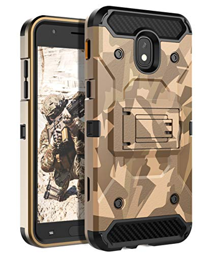 (HUATRK Samsung Galaxy J3 2018 Case Kickstand Three Layer Heavy Duty Shockproof Protective Cover Compatible Galaxy J3 Achieve/Amp Prime 3/J3V/Express Prime 3/J3 Star/Sol 3/J3 Orbit/J3 Aura - Camouflage)