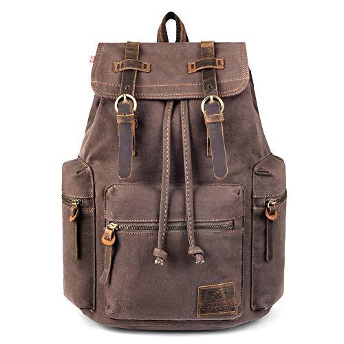 Canvas Backpack, P.KU.VDSL-AUGUR Series Vintage Backpack Hiking Daypacks Computers Laptop Backpacks Unisex Casual Rucksack Satchel Bookbag Mountaineering Bag for Men Women