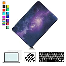 """RYGOU 13 Inch Macbook Air Case,4 in 1 Matte Finish Galaxy Space Pattern with Keyboard Cover Screen Protector for Macbook Air 13"""" (A1369 and A1466)"""