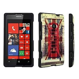 linJUN FENGDuroCase ? Nokia Lumia 521 Hard Case Black - (Red British Phone Booth)