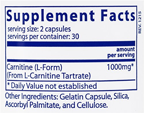 Vital Nutrients Carnitine 500 mg Cardiovascular and Fat Metabolism Support 60 Capsules