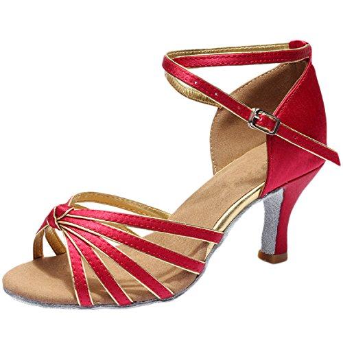Azbro Mujer Zapato de Baile Latín de Tacón Alto con Correa Cruzada Puntera Abierta Borgoña