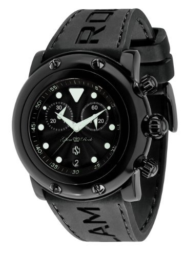 Glam Rock Unisex Quartz Watch With Black Dial Analogue Display And Silicone Bracelet 0.96.2409