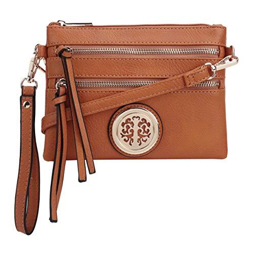SG SUGU Double Zipper Crossbody Purse Bag with Metallic for Women   Small TAN