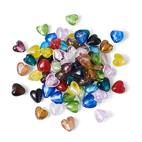 Craftdady 200pcs Heart Shape Mixed Colors Lampwork Silver Foil Glass Beads Loose Beads Charm for Bracelets Earrings Jewelry Making (Heart Glass Charms)