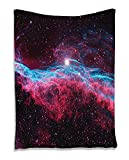 Nebula Outer Space Infinity Galaxy Universe Milky Way Starry Stars Orbit Astronomy Cosmos Cosmic Background Realistic Berry Turquoise Red Supersoft Throw Fleece Blanket 59.05x78.74 Inches