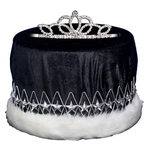 Black and Silver King and Queen Crown and Tiara Set