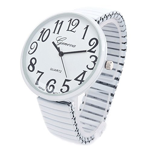 (White Super Large Face Stretch Band Fashion Watch - Free Shipping)