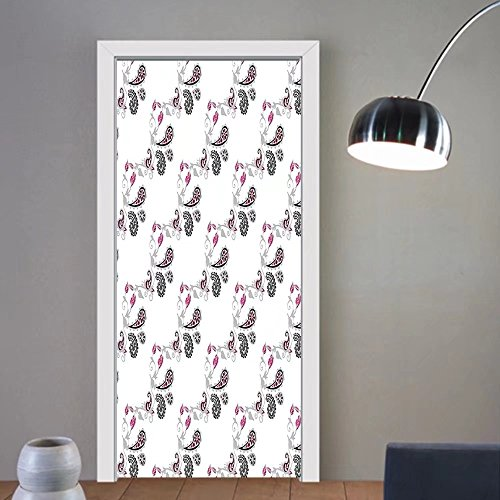 Gzhihine custom made 3d door stickers Paisley Decor Design with Cute Flowers Leaves and Abstract Ivy Patterned Artwork Pink Grey and Black For Room Decor 30x79 by Gzhihine