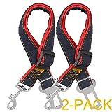Dog Seat Belt, 2 Pack Adjustable Pet Car Seatbelt, Comsun Dog Harness Safety Leads, Cat Vehicle Traveling Leash, 17-26 inch Adjustable Length Red