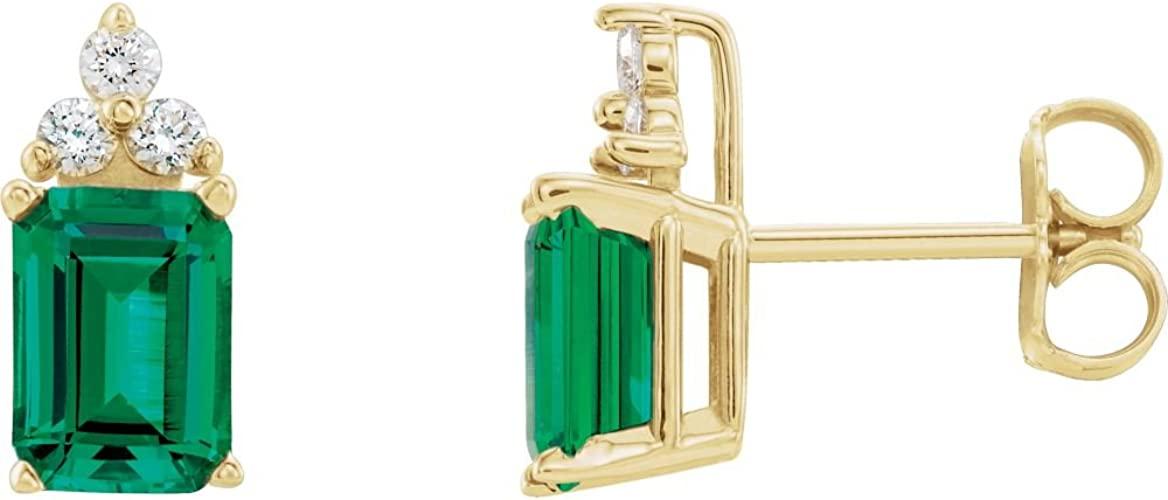 14K Yellow Chatham/Â Created Emerald Youth Earrings