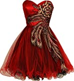I Dream Dresses Women's Metallic Peacock Embroidered Holiday Party Homecoming Prom Dress US10 Red