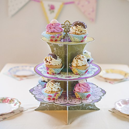 Talking Tables Truly Scrumptious Floral Cake Stand (3 Tier) for a Tea Party, Wedding or Birthday, Multicolor by Talking Tables (Image #3)