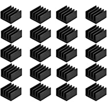 Easycargo 20pcs Small Heatsink Kit + 3M 8810 thermal conductive adhesive tape, mini cooler Heat Sink for cooling VRM Stepper Driver MOSFET VRam Regulators (8.8mmx8.8mmx5mm)