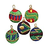 ID #8223ABCDE Lot of 5 Christmas Ornaments Holiday Iron On Applique Patch