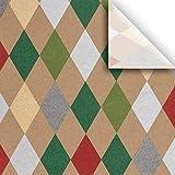 Jillson & Roberts Printed Gift Tissue 20'' x 30'', Holiday Harlequin (240 Sheets)